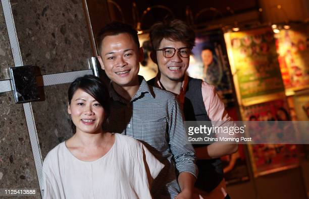 Founders of Windmill Grass Theatre Company Shaw Meikwan Joey Leung Choyiu and Edmond Tong Chunyip pose for picture in Kwai Fong 05OCT12