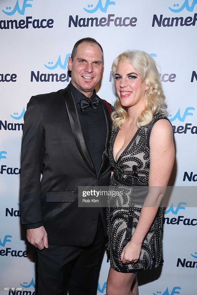 Founders Steve Eichner and Daniela Kirsch attend the launch party for NameFace.com at No. 8 on January 27, 2016 in New York City.