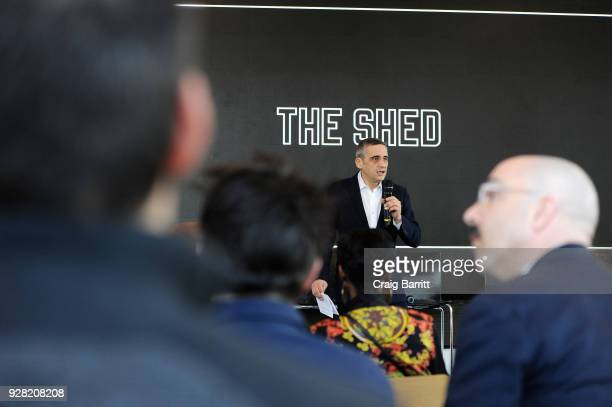 Founding Artistic Director and CEO at The Shed Alex Poots speaks onstage as The Shed announces the first seven commissions of its 2019 inaugural...