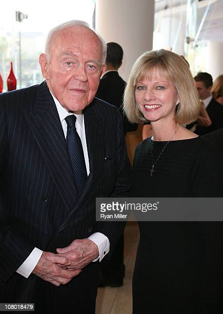 Founding Chairman Henry Segerstrom and Sandy Segerstrom Daniels pose at the Orange County Perfroming Arts Center's renaming ceremony to Segerstrom...