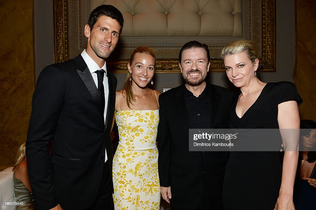 Founding Chairman of the Novak Djokovic Foundation Novak Djokovic, Executive Director of the Novak Djokovic Foundation Jelena Ristic, comedian Ricky Gervais, and author Jane Fallon attend the Novak Djokovic Foundation New York dinner at Capitale on September 10, 2013 in New York City.