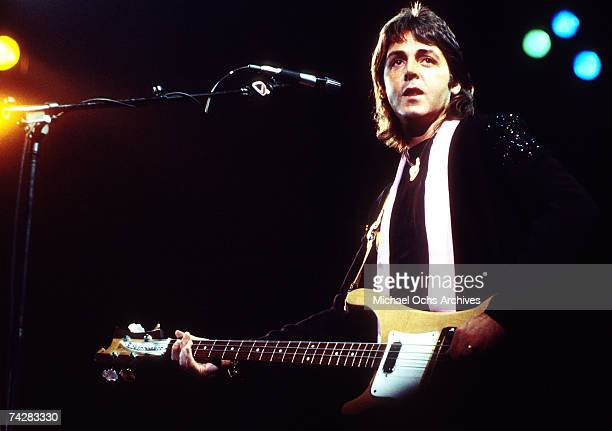 "Founding member of the rock and roll band ""The Beatles"", Paul McCartney, fronts his next band ""Wings"" in May 1976 in Los Angeles, California."