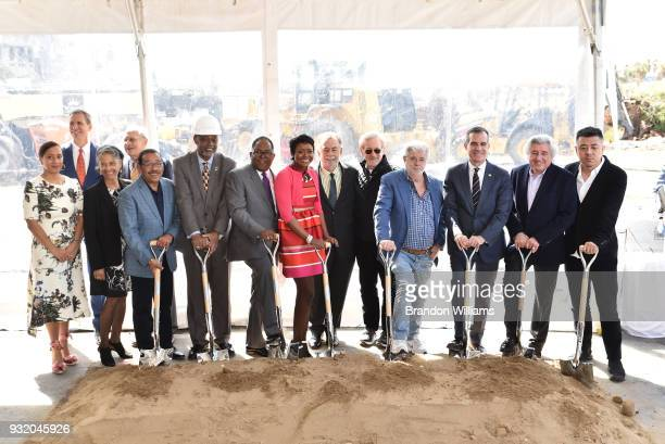 Founding members and board of Lucas Museum of Narrative Art break ground in Exposition Park on March 14 2018 in Los Angeles California