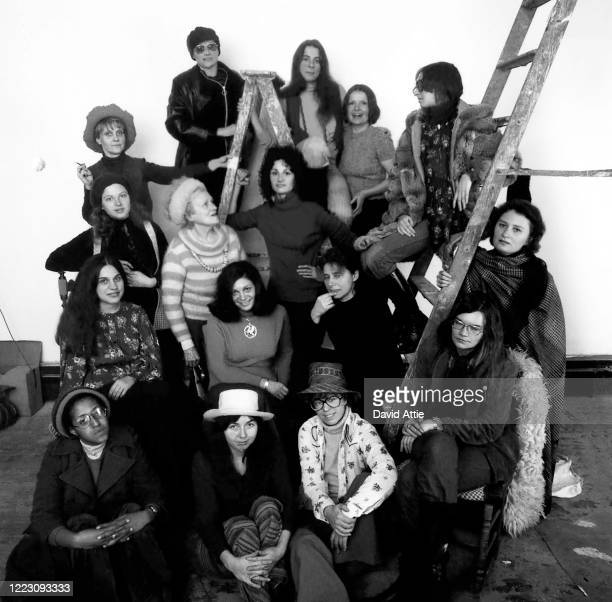 Founding members of the first women's cooperative art gallery AIR from left to right bottom to top Howardena Pindell Daria Dorosh Maude Boltz...