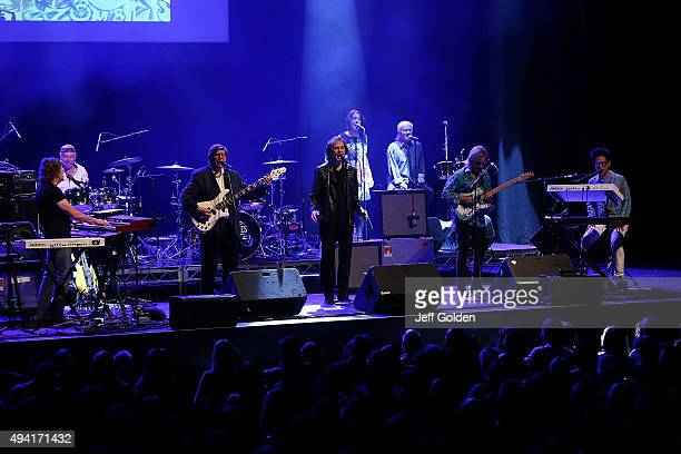 Founding members of The Zombies Rod Argent Hugh Grundy Chris White and Colin Blunstone perform with background vocalist Vivienne Boucherat present...