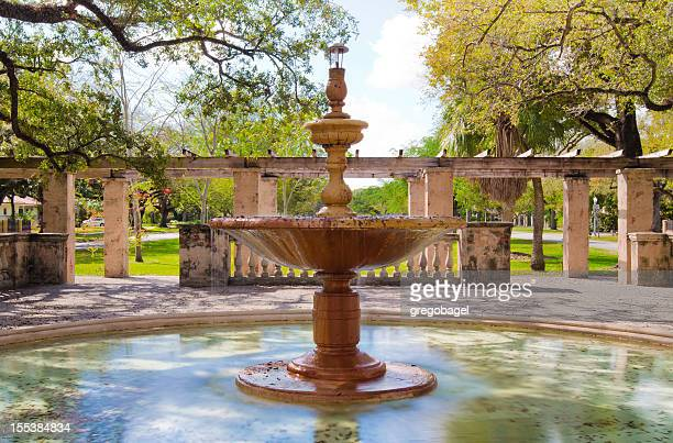 fountain along country club prado in coral gables, fl - coral gables stock pictures, royalty-free photos & images