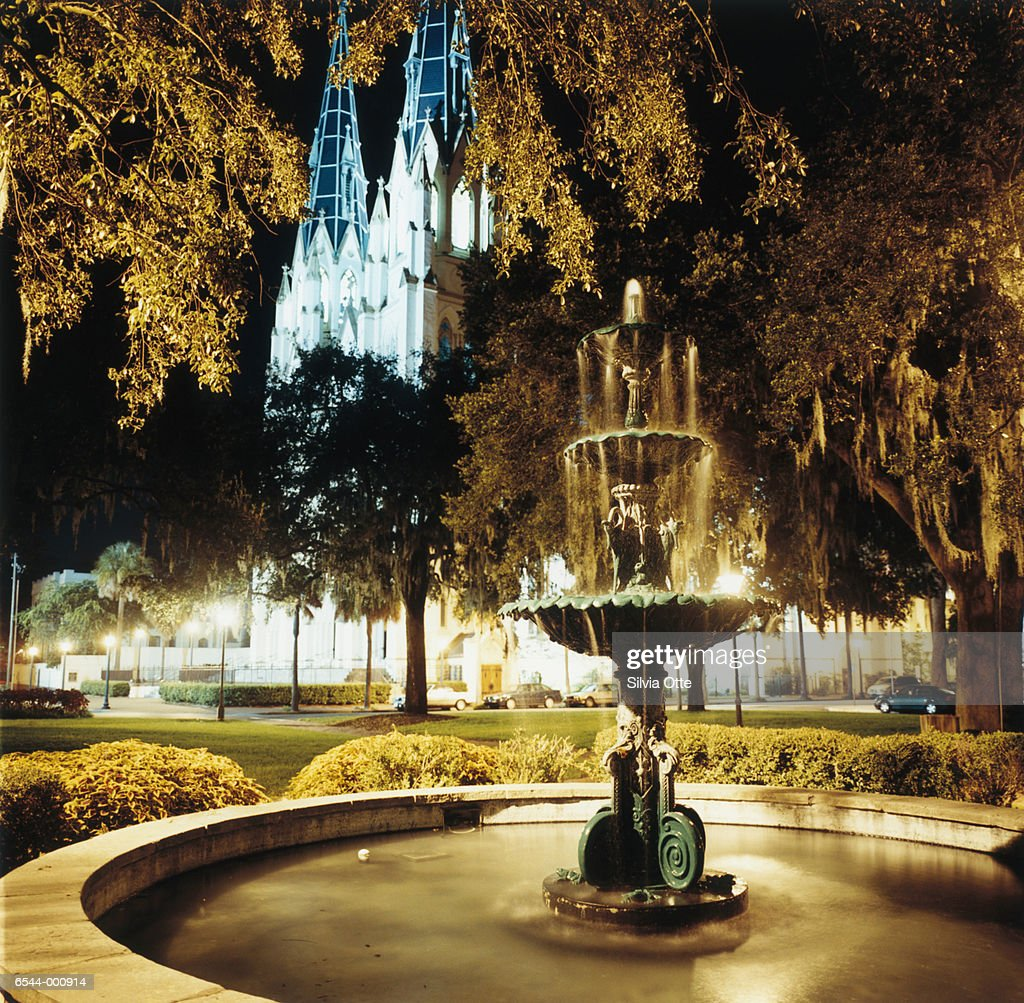 Fountain and Cathedral : Stock Photo