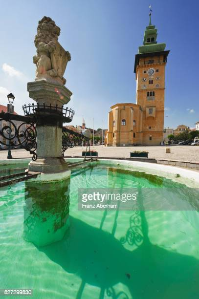Fountain and clock tower, city square in Retz, a city in the wine region of Weinviertel, Austria