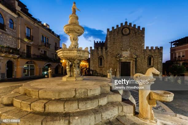 Fountain and Fortress Duomo, Taormina, Sicily, Italy