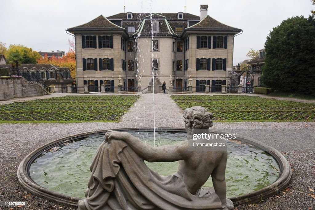 Fountain and general view of Rechberggarten,Zurich. : Stock Photo
