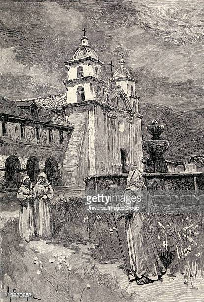 Fountain and Mission Santa Barbara California Engraving from the book The Century Illustrated Monthly Magazine May to October 1883