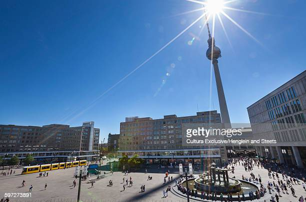 Fountain at Alexanderplatz and the Fernsehturm, Berlin, Germany