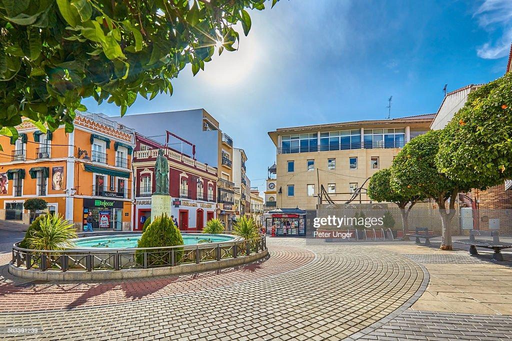 Fountain at city centre, Merida : Stock Photo