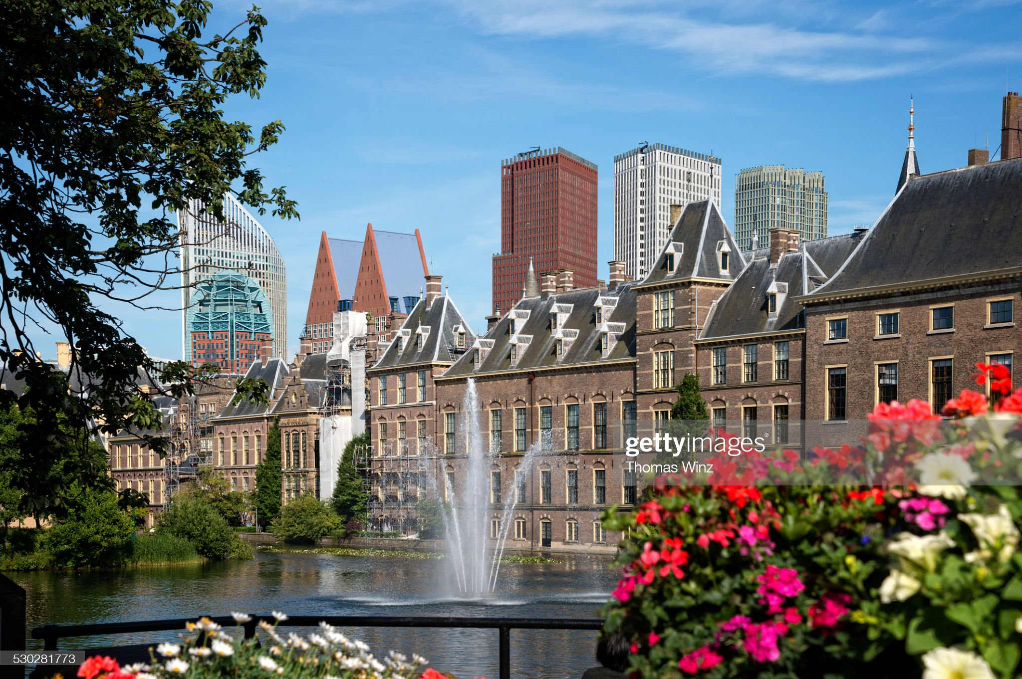 Fountain at Hofvijver Pond in The Hague : Foto stock
