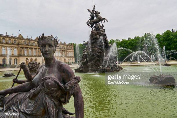 Fountain at the Castle of Herrenchiemsee New Palace on July 25 2015 in Chiemsee Bavaria Germany
