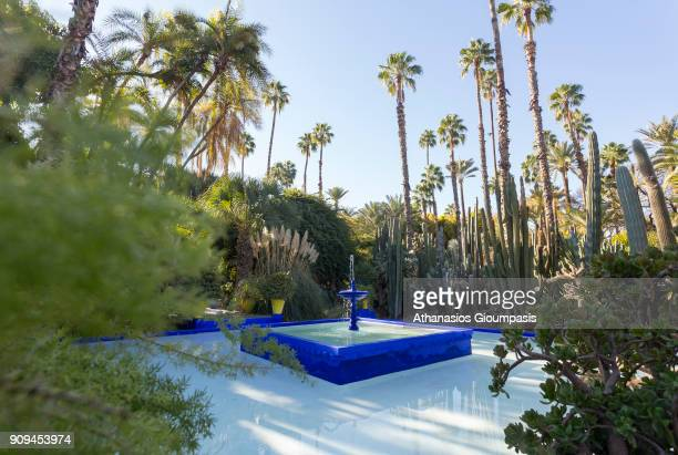 Fountain at the Majorelle Garden on January 04 2018 in Marrakesh Morocco The Jardin Majorelle in Marrakech is one of the most visited sites in...