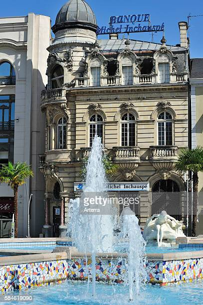 Fountain at the square Place Clemenceau in Pau, Pyrenees, France.