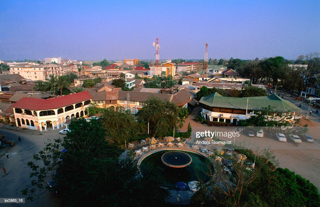 Fountain Circle Surrounded By Colonial Buildings Vientiane Laos