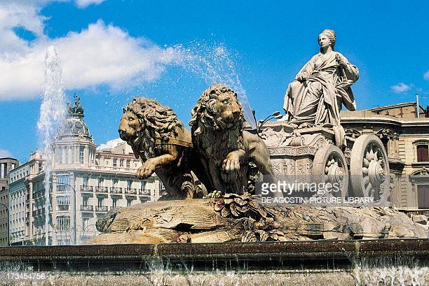 Fountain dedicated to the goddess Cybele Cibeles Place Madrid Spain