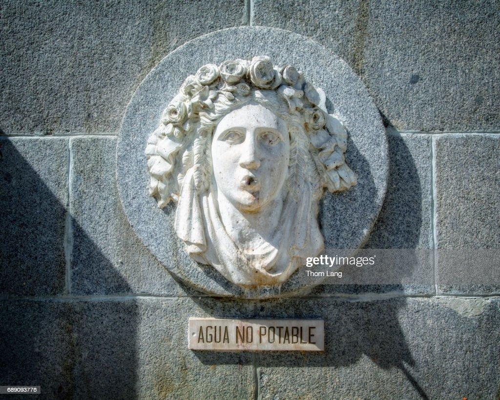 Fountain Face Detail, Madrid, Spain : Stock Photo