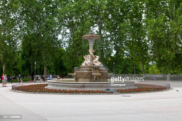 fountain galapagos in the retiro park in madrid - gwengoat stock pictures, royalty-free photos & images