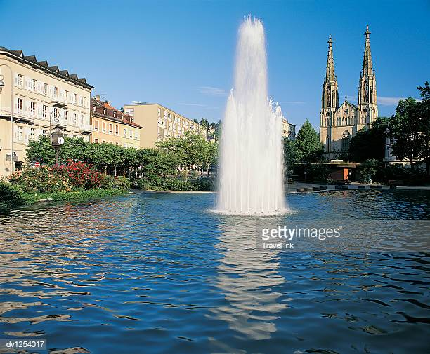 Fountain in a Pond, Baden Baden, Baden Wurttemberg, Germany