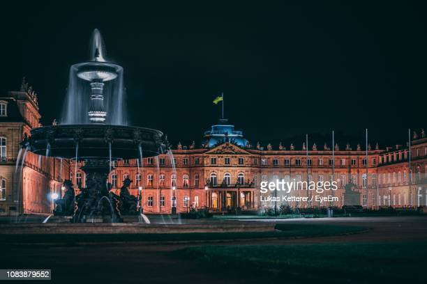fountain in city at night - castle square stock pictures, royalty-free photos & images