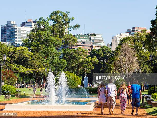 fountain in february 3 park - palermo buenos aires stock photos and pictures