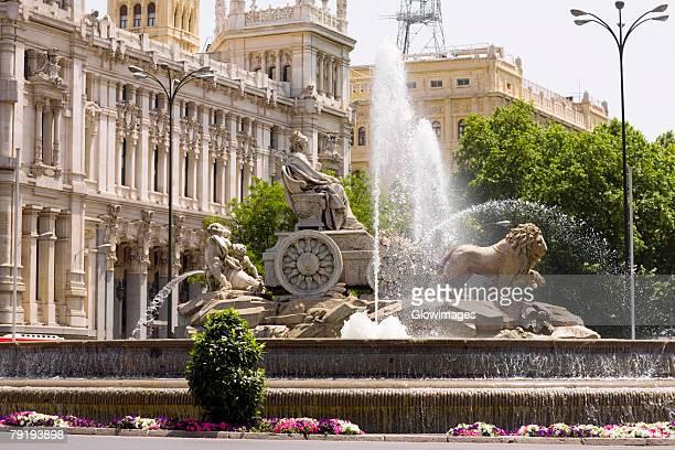 Fountain in front of a government building, Cibeles Fountain, Plaza de Cibeles, Palacio De Comunicaciones, Madrid, Spain