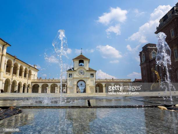 fountain in front of historical building - venaria reale stock photos and pictures