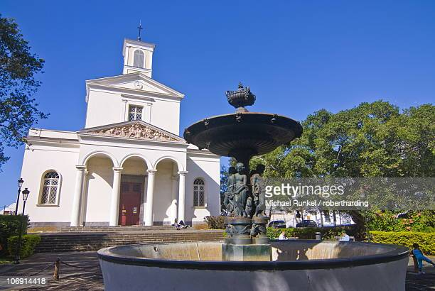 Fountain in front of the cathedral in St-Denis, La Reunion, Indian Ocean, Africa