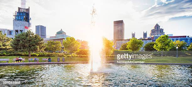 Fountain in Montreal's old port at sunset