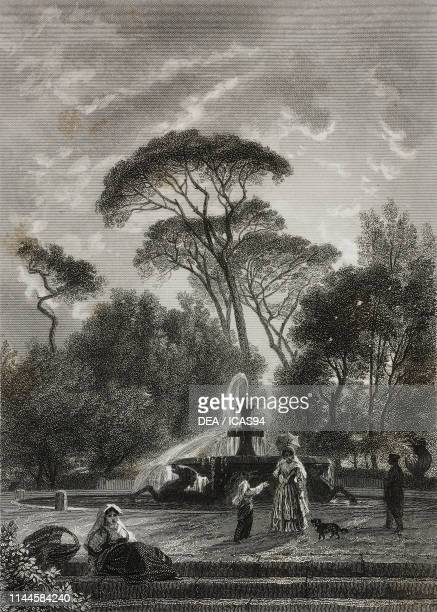 Fountain in the gardens of Villa Borghese Rome Italy drawing by Francais etching by JeanJacques Outhwaite from Rome souvenirs religieux historiques...