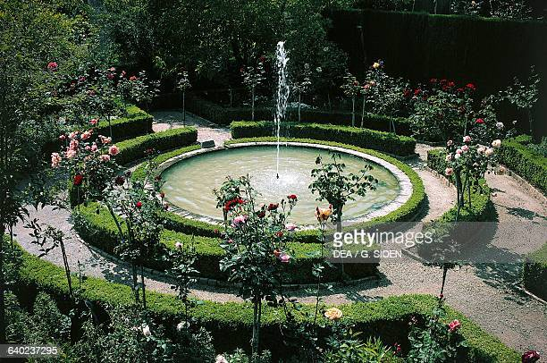 Fountain in the Generalife of the Alhambra Granada Andalucia Spain 14th century