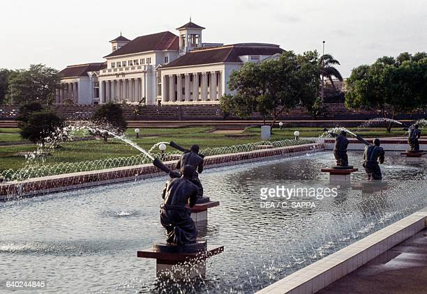 Fountain in the park of the Kwame Nkrumah mausoleum Accra Ghana 20th century