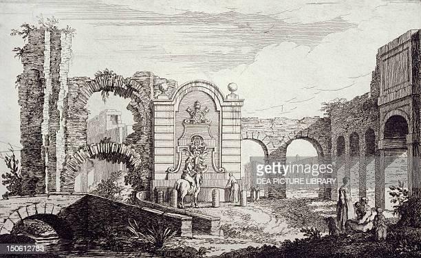 Fountain in Via Tuscolana and the Acqua Felice Aqueduct near Rome Italy 19th Century Engraving