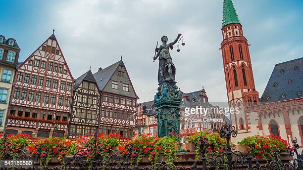 fountain of justice at romergerg, frankfurt - germany - frankfurt stock pictures, royalty-free photos & images