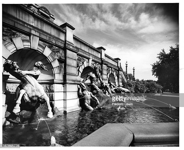 Fountain Of Neptune at Library Of Congress In Washington, DC, 1955.