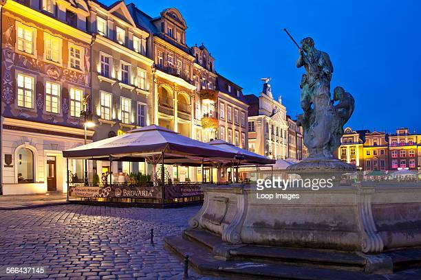 Fountain of Neptune in the old town square in the Polish city of Poznan