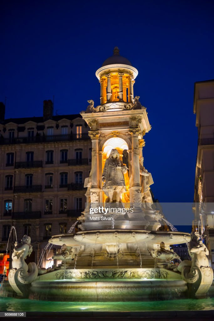 Fountain of the Place des Jacobins in Lyon : Stock-Foto