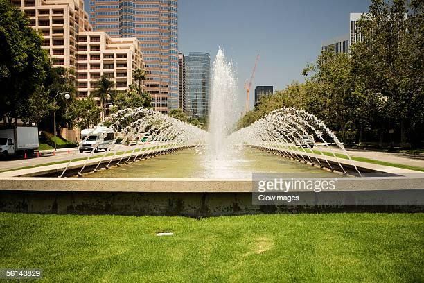 'Fountain on a lawn outside a building, Sacramento, California, USA'