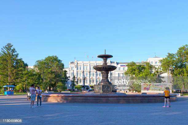 Fontänen på Dzerzjinskij square i Omsk