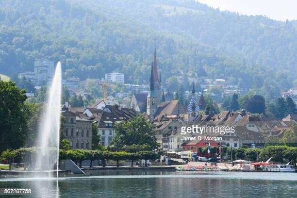 Fountain on lake Zug in June 21 2017 in Zug Switzerland