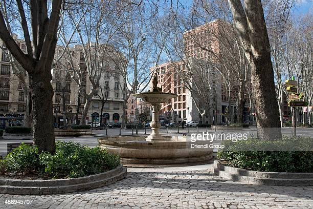 A fountain on Paseo de Prado in Madrid.