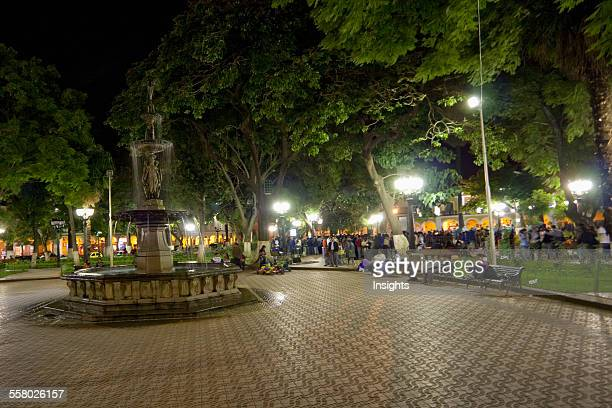 Fountain on Plaza 14 de Septiembre at night, Cochabamba, Bolivia
