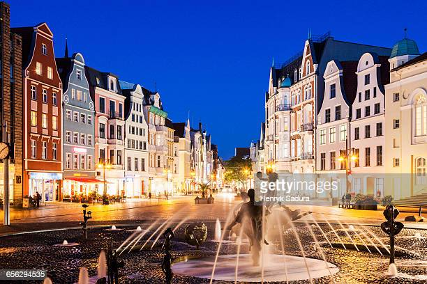 fountain on university square in rostock rostock, mecklenburg-vorpommern, germany - rostock stock pictures, royalty-free photos & images
