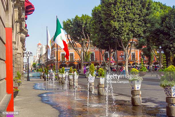 Fountain out of Palace of Town Hall in the city of Puebla. Mexico