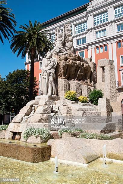 fountain outside teatro colon building - ciudades capitales fotografías e imágenes de stock