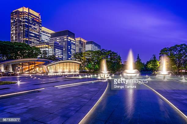 Fountain Park in Twilight Tokyo City