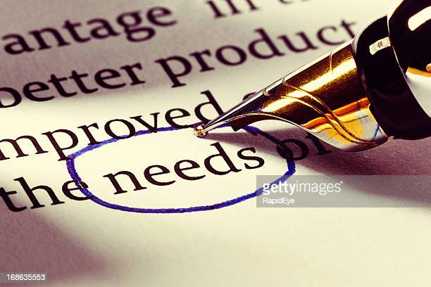 "Fountain pen circles the word ""needs"" in business document"